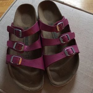 Gorgeous hot pink metallic Birkenstock sandals